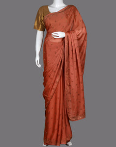 Peach Art Georgette Embroidery Saree