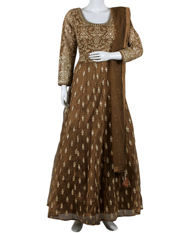 Brown Net Salwar Kameez