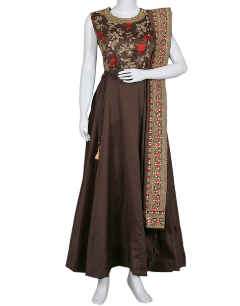 Brown Cotton Chanderi Salwar Kameez