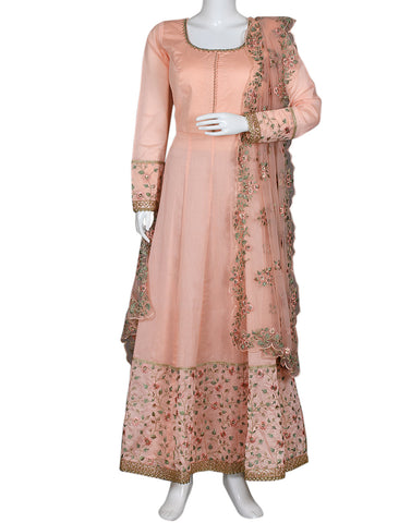 Peach Pink Cotton Chanderi Salwar Kameez