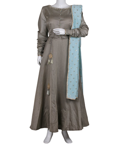 Grey Pink Cotton Chanderi Salwar Kameez