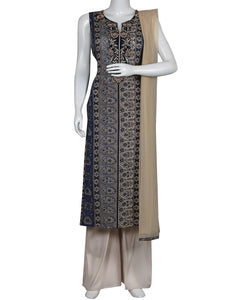 Blue Cream Cotton Salwar Kameez