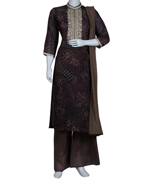 Purple Grey Cotton Salwar Kameez