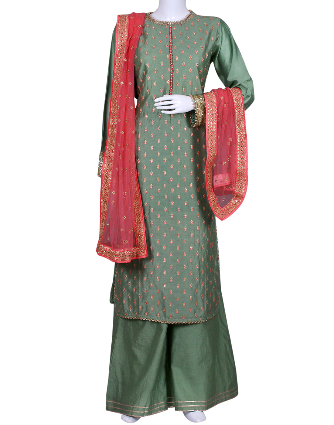 Green Cotton Chanderi Salwar Kameez