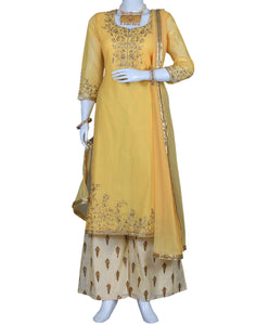 Yellow Cotton Chanderi Salwar Kameez