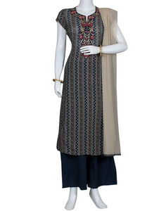 Grey Navy Cotton Salwar Kameez