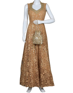 Golden Beige Net Dress