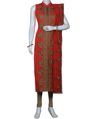 Tomato Red Cotton Chanderi Salwar Kameez