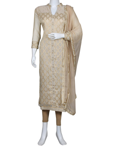 Beige Cotton Chanderi Suit Set
