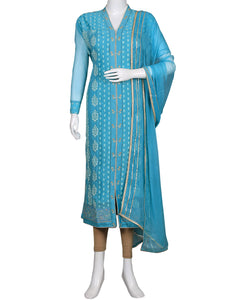 Sky Blue Art Georgette Suit Set