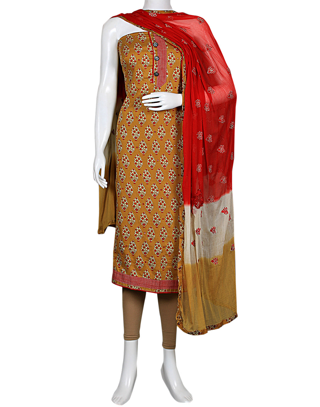 Mehendi Maroon Cotton Suit Set