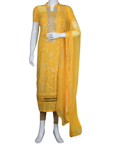 Mustard Art Georgette Suit Set