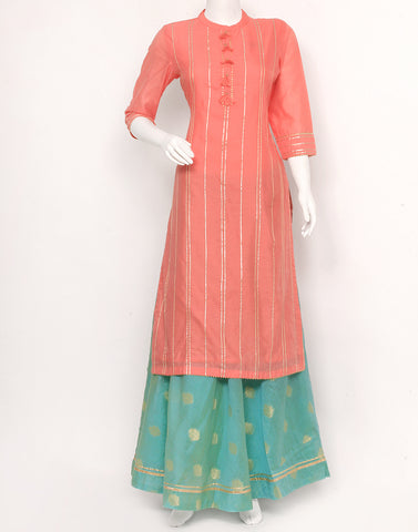 Pink Sea Green Cotton Chanderi Kurti with Skirt
