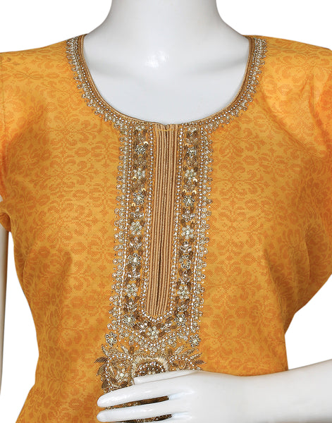 Mustard Beige Cotton Chanderi Suit Set
