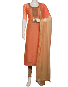 Peach Beige Cotton Chanderi Suit Set