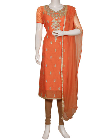 Peach Cotton Chanderi Suit Set