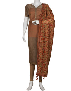 Brown Mustard Cotton Chanderi Suit Set