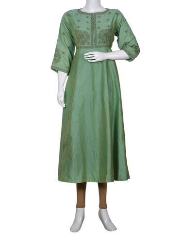 Green Cotton Chanderi Kurti