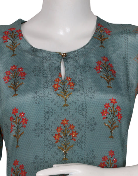 Aqua Green Cotton Kurti