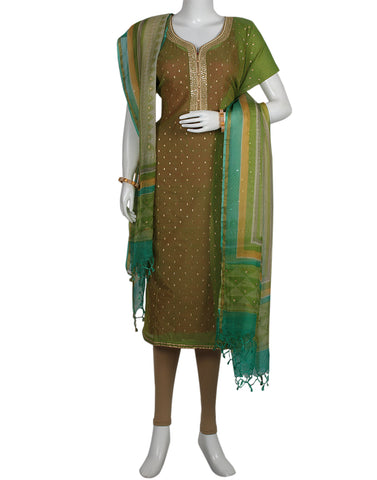 Mehndi Cotton Chanderi Suit Set