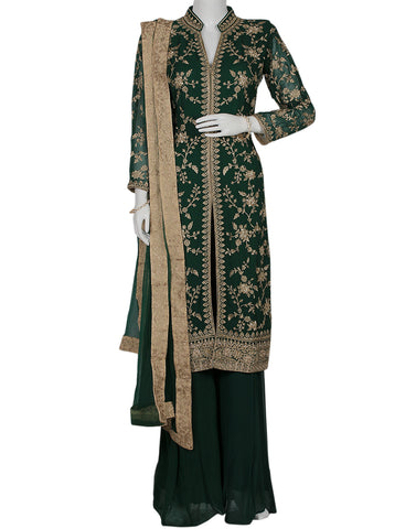 Bottle Green Georgette Salwar Kameez