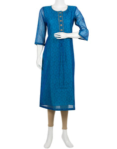 Firozee Cotton Chanderi Kurti