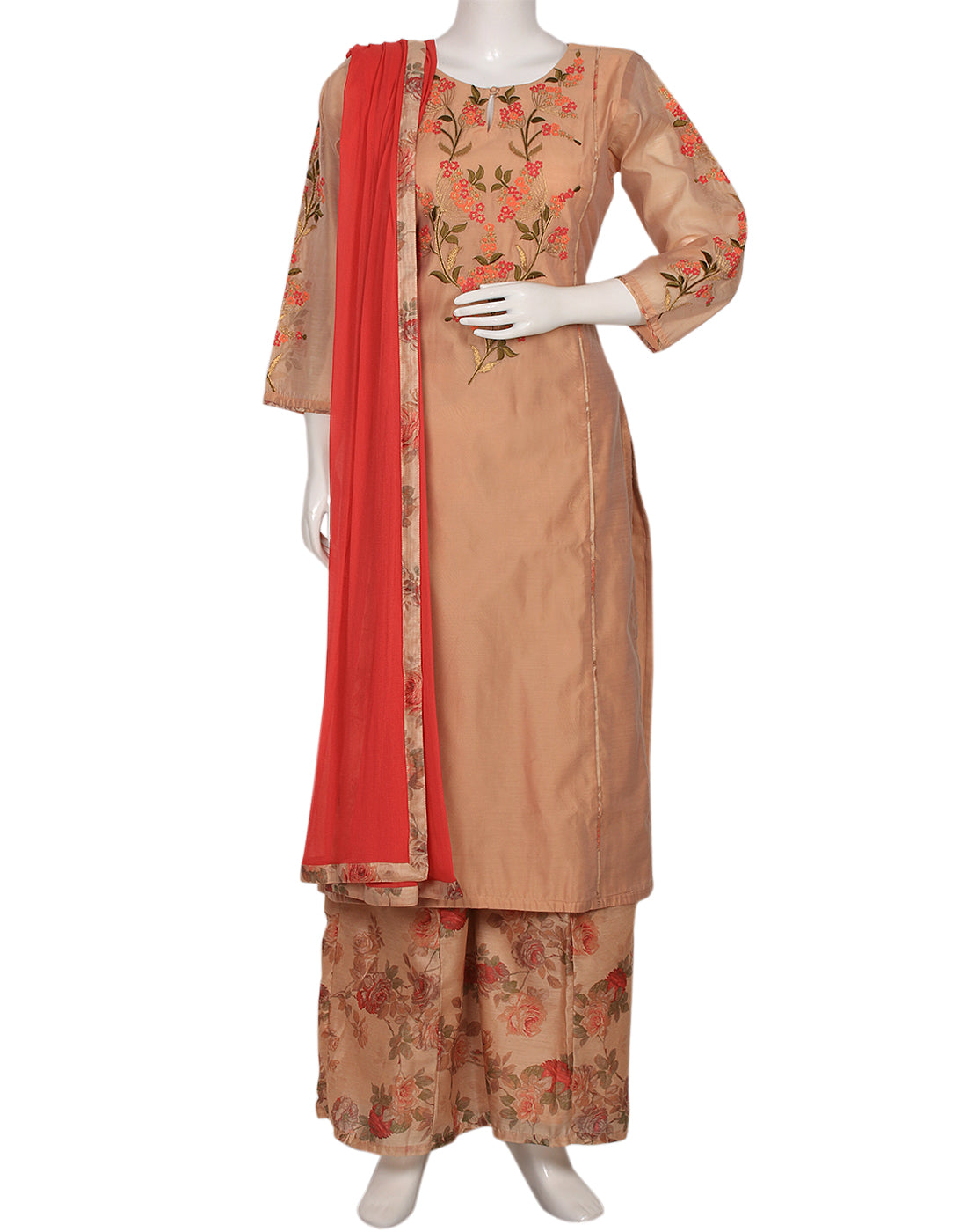 Peach Cotton Chanderi Salwar Kameez