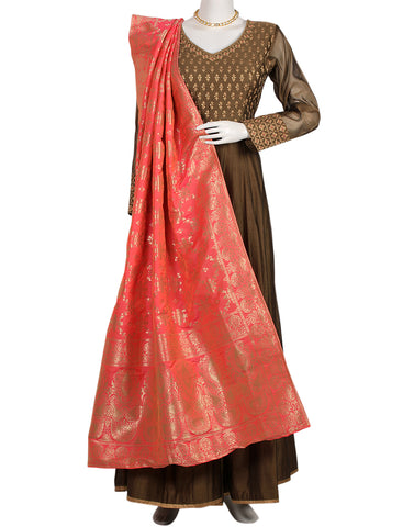 Brown Pink Cotton Chanderi Salwar Kameez