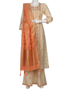 Cream Peach Cotton Chanderi Salwar Kameez
