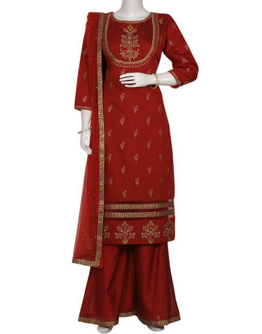 Red Cotton Chanderi Salwar Kameez
