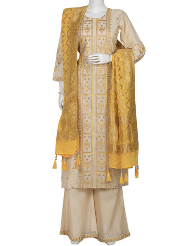 Cream Yellow Cotton Chanderi Salwar Kameez