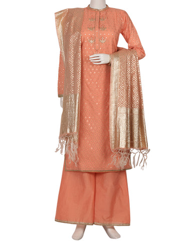 Peach Pink Cotton Salwar Kameez