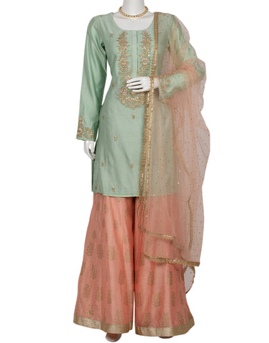 Pista Green Pink  Cotton Salwar Kameez