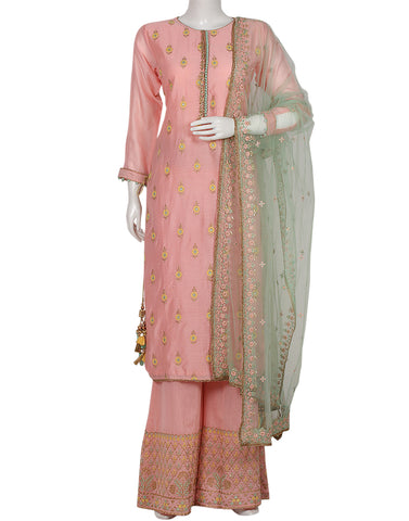 Pink Sea Green Cotton Chanderi Salwar Kameez
