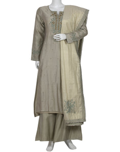 Grey Green Cotton Chanderi Salwar Kameez