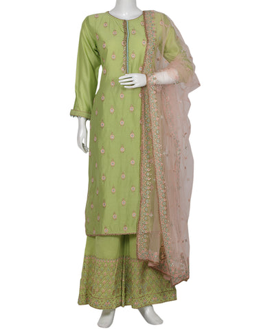 Pista Green Pink Cotton Chanderi Salwar Kameez