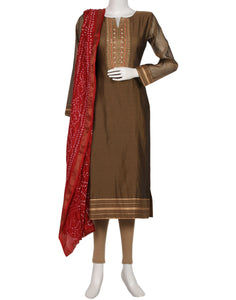 Brown Maroon Cotton Chanderi Salwar Kameez