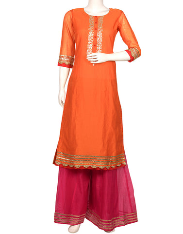 Orange Cotton Chanderi Kurta with Palazzo