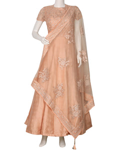 Light Peach Dupion Handloom Salwar Kameez
