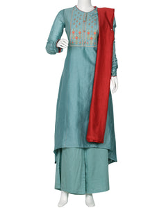 Grey Blue Cotton Chanderi Salwar Kameez