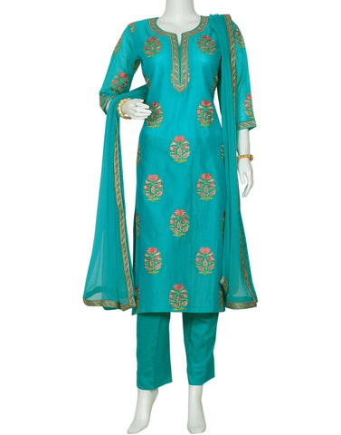 Firozee Cotton Chanderi Salwar Kameez