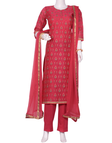 Rani Cotton Chanderi Salwar Kameez