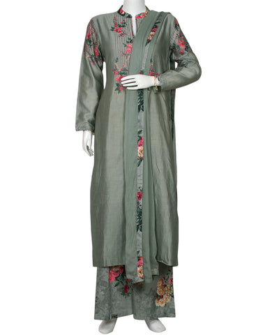 Light Grey Cotton Chanderi Salwar Kameez
