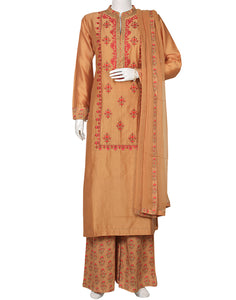 Golden Beige Cotton Chanderi Salwar Kameez