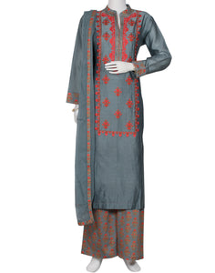 Grey Cotton Chanderi Salwar Kameez