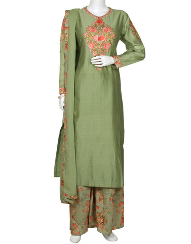 Pista Green Cotton Chanderi Salwar Kameez