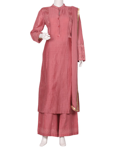 Onion Pink Cotton Chanderi Salwar Kameez