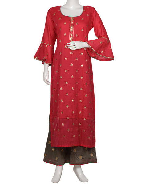 Rani & Grey Cotton Kurti with Palazzo