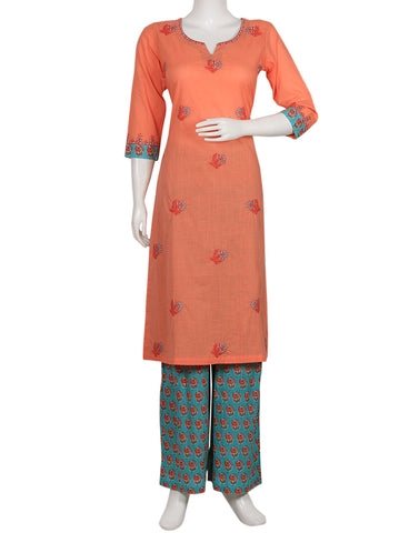 Peach & Sea Green Cotton Kurti with Palazzo