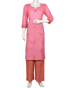 Pink & Orange Cotton Kurti with Palazzo